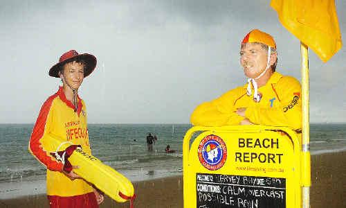 Hervey Bay Surf Lifesaving lifeguard Shane Thornton and club captain Shane Ridge.