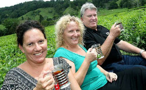 FOODIES Cassie Ryan and Remy Tancred from Lennox Head toured Madura Tea Estates with marketing manager Ray Fien.