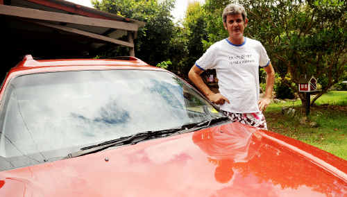 Wooloweyah resident Tim Seaman with his car that was returned after being stolen before Christmas.