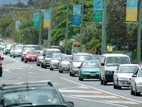 Traffic queued along Ewingsdale Road at Byron Bay.