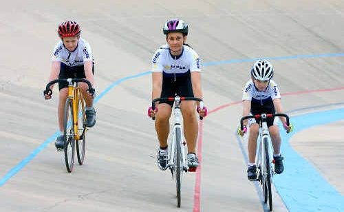 Junior Rockhampton cyclists, from left, Felix Holmesstory, Jacqui Holloway and Lachlan Mathers.