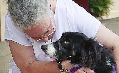 Assistance dog Matthew gets a cuddle from owner Crezette Fletcher.