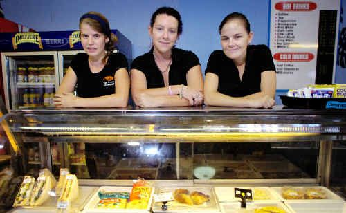 Big Prawn Restaurant employees Tiahn Smith (left), Catherine Garson and Amie King are keen to find new jobs in Ballina. Not present are waiters Lauren Murphy, Cecilia Griffiths and Sam Allen, and cooks Angela Dawes and Tracy Newport.