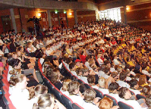 School children packed the SCU auditorium at last years Step to the Future program.