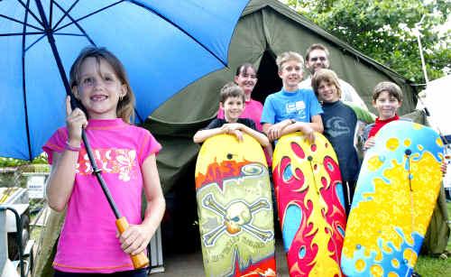 Camping out at Yeppoon despite the rain yesterday are Kaitlyn Smith, 7, Bradley Smith, 11, Amanda Smith, Jordan Smith, 13, Mark Hiron, Jack Olman, 11 and Thomas Olman, 7.