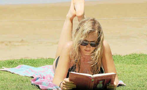 Brooke Schloss soaks up the sun at Nielson Park Beach in Bargara.
