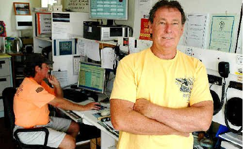Cape Byron Coastal Patrol divisional commander Peter Stynes (right) and search master Syl Reid at the newly named Marine Rescue NSW headquarters at Cape Byron.