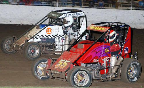 Action from the Lismore round of the Triple X Speedcar Super Series on Saturday night.