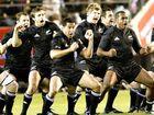 New Zealand All Blacks perform the traditional 'haka' dance before the Bledisloe Cup against Australia's Wallabies.