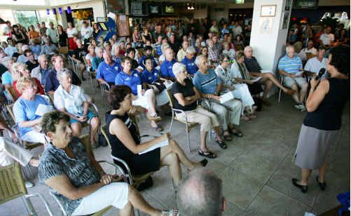 Residents met at Marcoola SLSC to discuss the proposed desalination plant.