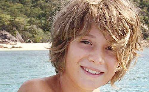 Pascal Dattler, 10, who suffered a severe head injury while surfing at The Pass last Friday.