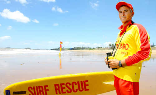 Keeping watch over our waterways after recent shark sightings is lifeguard Russell Blanchard at Emu Park Surf Life Saving Club.