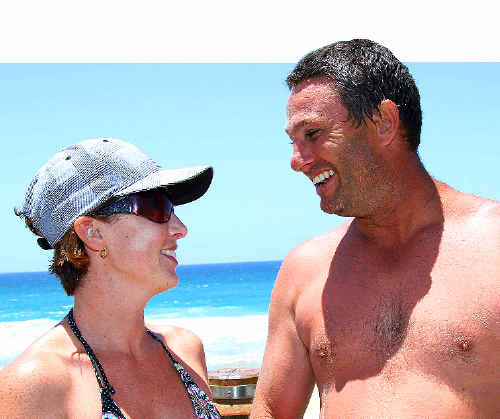 Holidaying nurse Belinda Walterback and Sydney visitor Matt Brown saved a fellow tourist's life at Park Beach yesterday.
