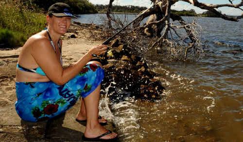 Kerrie Killen, of Maitland, fishing at Micalo Island.