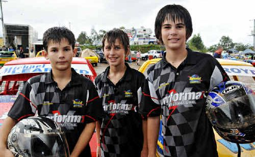 Brendon and Michael Learoyd, with racing mate Ryan Morris, at Mothar Mountain.