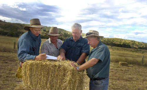 Landowners (from left) Rodney Hannant, Robbie Carkeet, Peter Brady and Kerry Waldon last year received maps showing them areas of their land they had to take out of production.