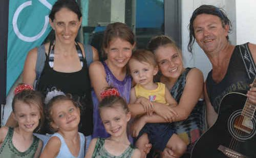 Jimmy and Tracy and six of their eight children have come to Yamba to busk for a couple of days.