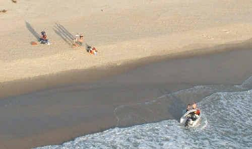 Fishermen were rescued at Chinamans Beach, Evans Head, yesterday.