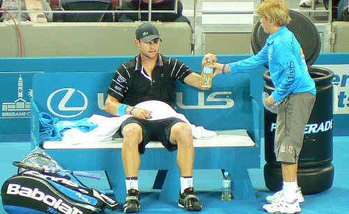 Hervey Bay junior tennis player Jacob Dorey met his favourite player, Andy Roddick, when he was a ball boy at the Brisbane International.