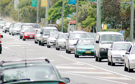 The traffic queues for kilometres trying to get into Byron Bay last week.