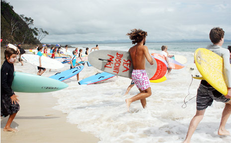 Last year's Australia Day Surfers Charity Challenge paddle at Byron Bay attracted more than 360 paddlers. This year organsiers are hoping to attract a field of 600.