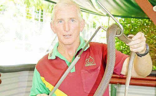 Ian Jenkins back at work despite snake bite.