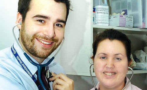 Starting their 10-week internships in the Hervey Bay Hospital medical ward are Matthew Gilmore and Belinda Oddy.