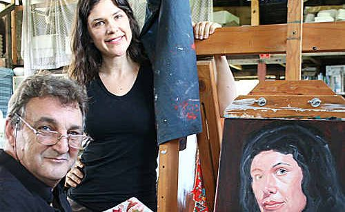 Portrait artist Neil Liddel and Lismore Regional Gallery curator Kezia Geddes with the study of Kezia that will form the basis of a bigger portrait for entry in the Northern Rivers Portrait Prize.