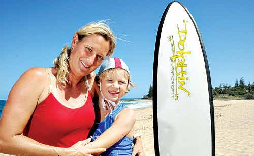 Daniel Bounty with his mum, Michelle. Daniel is recovering from a stroke and looks forward to going back to Nippers.