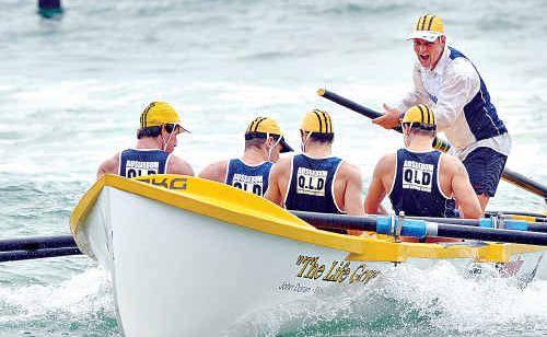 Sweep Steve Davies screams encouragement to the Alexandra Headland under-23 crew.