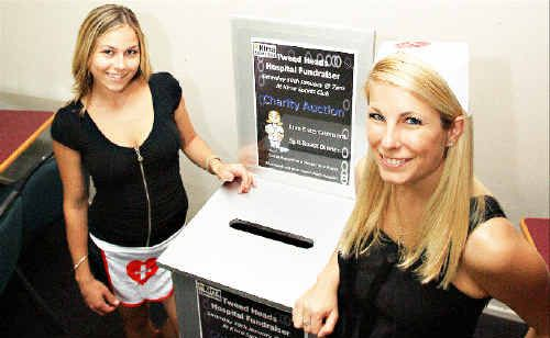 KIRRA Sports Club employees Emily Evans (left) and Mandi Thompson are ready to take donations for The Tweed Hospital.