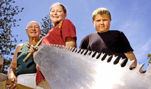 Proving age is no barrier to woodchopping are Brunswick Heads WoodchopCarnival competitors Garth Martin, 79, Vanessa Gossow, 14, and Cameron Marsh, 11.