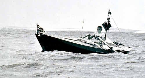 Colin Quincey at sea in 1977 in the original Tasman Trespasser.