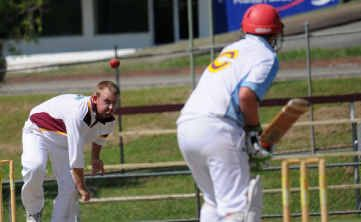 Bundaberg fast bowler Rhys Grills took three wickets, but it was not enough as Gympie won the match by three wickets. Photo courtesy of the Gympie Times