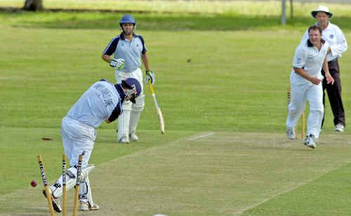 Ballina Bears batsman Toby Hordern has a lucky escape after being bowled off a no-ball by Marist Brothers' Steve Prosser in the match at Nielson Park, East Lismore, on Saturday.