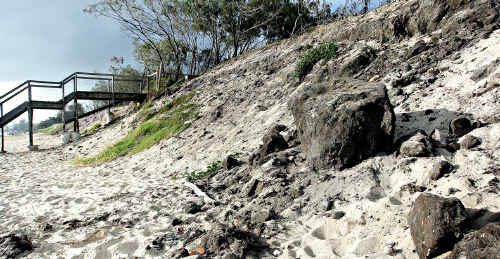 Severe beach erosion at Maroochydore Beach which was badly affected by last year's east coast low.