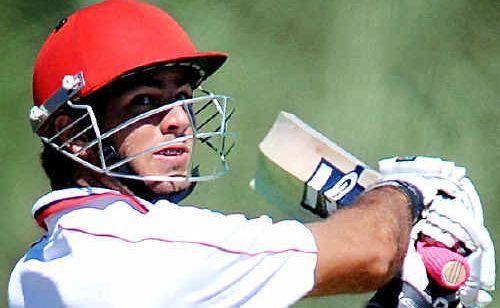 Maroochydore batsman Alecz Day plays a cut.