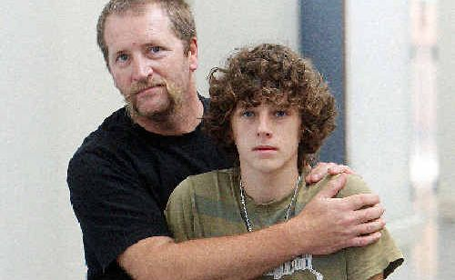 Alex Gourley, with his dad Tim, at the Eden Rehabilitation Centre at Cooroy.