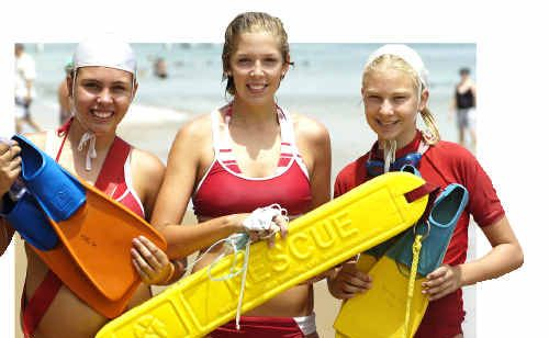 Marnie Exelby (from left), Catherine Sugget and Shelley Thornton contested the Wide Bay Branch Surf Rescue Championships.