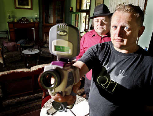 Ghost Tours operator Jack Sim (back) with Queensland paranormal investigator Shane Townsend (front) is starting a series of ghost hunts.