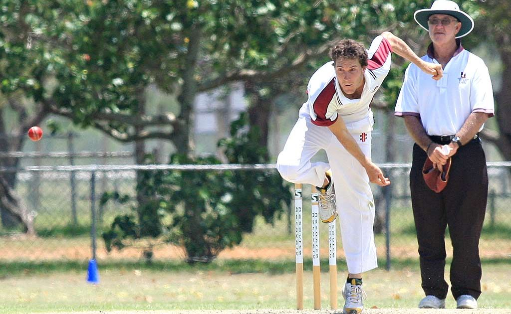Tweed District fast bowler James Julius in action.