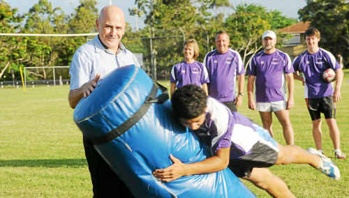 Bundaberg Radiology is sproudly sponsering the Bundaberg Junior Rugby League Academy this year. Working hard at training are Graeme Cashin, Torey Kani (front) Robyn and Garry Anderson, Paul Barritt and Zac Hansen. Photo: Max Fleet rug1501a