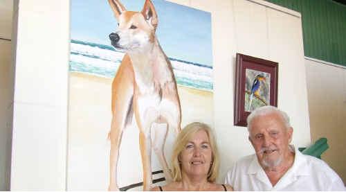 Artist Pam Price and Maryborough Art Society president Bill Hewitt.