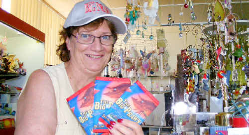 Shane Kermode, owner of the Aussie Gift Shop in the Big Prawn complex in Ballina, will be moving out this weekend. She is holding some of the few remaining Big Prawn souvenirs she has in stock.