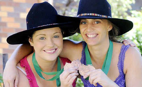 The Lennox Beach Bootscooters duo of Kristen Wade (left) and Kimberly Vidler are all smiles after collecting the bronze medal for freestyle line dancing at the Tamworth Country Music Festival.