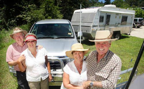 Brothers and business partners John and Peter Shadforth, with their wives Gail and Noelene, are seeking funding for their RV HOMEBASE village concept.