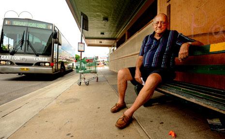 Spiro Notaras sits outside his Saraton Theatre.