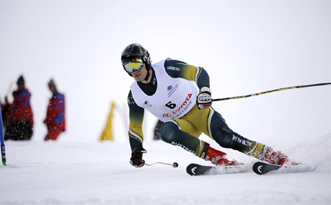 Marty Mayberry in action on the slopes in Austria. There are high hopes he will be among the medals at the Paralympic Games in Canada in March.