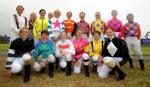 The female jockeys who raced in the Iris Nielsen Memorial Handicap at the Ballina Jockey Club last year.