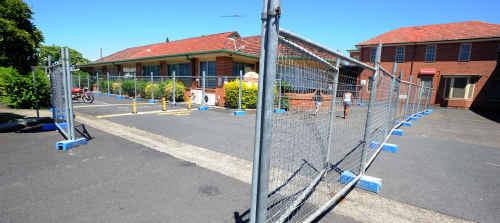 Fencing around the Grafton Base Hospital.